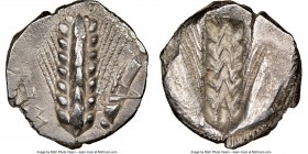 LUCANIA. Metapontum. Ca. 470-440 BC. AR stater (20mm, 7.60 gm, 12h). NGC AU 4/5 - 4/5. META (on left, retrograde), barley ear with eight grains; grass...