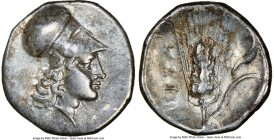 LUCANIA. Metapontum. Ca. 325-275 BC. AR diobol (12mm, 1.21 gm, 7h). NGC XF 4/5 - 4/5. Head of Athena right, wearing Corinthian helmet pushed back on h...