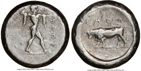 LUCANIA. Poseidonia. Ca. 470-420 BC. AR stater (18mm, 8h). NGC Choice Fine, brushed. ΠΟΣEΣ, Poseidon striding right, nude but for chlamys spread acros...