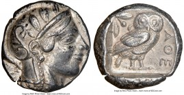 ATTICA. Athens. Ca. 455-440 BC. AR tetradrachm (23mm, 17.18 gm, 8h). NGC Choice XF 5/5 - 4/5. Early transitional issue. Head of Athena right, wearing ...