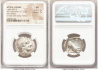 ATTICA. Athens. Ca. 440-404 BC. AR tetradrachm (25mm, 17.22 gm, 9h). NGC MS 5/5 - 4/5. Mid-mass coinage issue. Head of Athena right, wearing crested A...