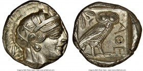 ATTICA. Athens. Ca. 440-404 BC. AR tetradrachm (25mm, 17.21 gm, 10h). NGC MS 4/5 - 4/5. Mid-mass coinage issue. Head of Athena right, wearing crested ...