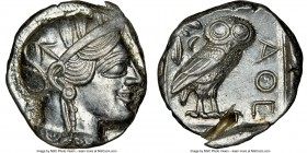 ATTICA. Athens. Ca. 440-404 BC. AR tetradrachm (25mm, 17.21 gm, 5h). NGC MS 4/5 - 2/5, test cut. Mid-mass coinage issue. Head of Athena right, wearing...
