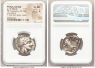 ATTICA. Athens. Ca. 440-404 BC. AR tetradrachm (26mm, 17.23 gm, 10h). NGC Choice AU 5/5 - 4/5. Mid-mass coinage issue. Head of Athena right, wearing c...