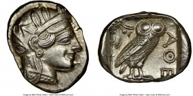 ATTICA. Athens. Ca. 440-404 BC. AR tetradrachm (26mm, 17.20 gm, 8h). NGC Choice AU 5/5 - 4/5, brushed. Mid-mass coinage issue. Head of Athena right, w...