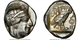 ATTICA. Athens. Ca. 440-404 BC. AR tetradrachm (26mm, 17.21 gm, 12h). NGC Choice AU 4/5 - 5/5. Mid-mass coinage issue. Head of Athena right, wearing c...