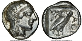 ATTICA. Athens. Ca. 440-404 BC. AR tetradrachm (24mm, 17.20 gm, 11h). NGC AU 5/5 - 4/5. Mid-mass coinage issue. Head of Athena right, wearing crested ...