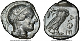 ATTICA. Athens. Ca. 440-404 BC. AR tetradrachm (25mm, 17.22 gm, 7h). NGC AU 5/5 - 4/5. Mid-mass coinage issue. Head of Athena right, wearing crested A...