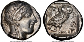 ATTICA. Athens. Ca. 440-404 BC. AR tetradrachm (24mm, 17.14 gm, 9h). NGC AU 5/5 - 4/5. Mid-mass coinage issue. Head of Athena right, wearing crested A...