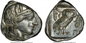 ATTICA. Athens. Ca. 440-404 BC. AR tetradrachm (25mm, 17.19 gm, 1h). NGC AU 4/5 - 5/5. Mid-mass coinage issue. Head of Athena right, wearing crested A...