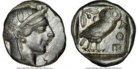 ATTICA. Athens. Ca. 440-404 BC. AR tetradrachm (25mm, 17.19 gm, 3h). NGC AU 4/5 - 5/5. Mid-mass coinage issue. Head of Athena right, wearing crested A...