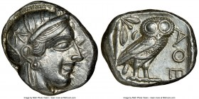 ATTICA. Athens. Ca. 440-404 BC. AR tetradrachm (24mm, 17.19 gm, 12h). NGC AU 4/5 - 5/5. Mid-mass coinage issue. Head of Athena right, wearing crested ...