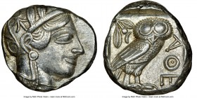 ATTICA. Athens. Ca. 440-404 BC. AR tetradrachm (23mm, 17.19 gm, 10h). NGC AU 4/5 - 5/5. Mid-mass coinage issue. Head of Athena right, wearing crested ...