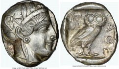 ATTICA. Athens. Ca. 440-404 BC. AR tetradrachm (24mm, 17.19 gm, 1h). NGC AU 4/5 - 4/5. Mid-mass coinage issue. Head of Athena right, wearing crested A...