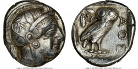 ATTICA. Athens. Ca. 440-404 BC. AR tetradrachm (24mm, 17.18 gm, 12h). NGC AU 4/5 - 4/5. Mid-mass coinage issue. Head of Athena right, wearing crested ...