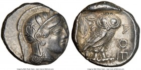 ATTICA. Athens. Ca. 440-404 BC. AR tetradrachm (24mm, 17.14 gm, 10h). NGC AU 4/5 - 4/5. Mid-mass coinage issue. Head of Athena right, wearing crested ...
