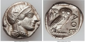 ATTICA. Athens. Ca. 440-404 BC. AR tetradrachm (24mm, 17.18 gm, 10h). AU. Mid-mass coinage issue. Head of Athena right, wearing crested Attic helmet o...