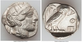 ATTICA. Athens. Ca. 440-404 BC. AR tetradrachm (26mm, 17.14 gm, 9h). AU, porosity. Mid-mass coinage issue. Head of Athena right, wearing crested Attic...