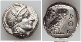 ATTICA. Athens. Ca. 440-404 BC. AR tetradrachm (25mm, 17.15 gm, 7h). Choice XF. Mid-mass coinage issue. Head of Athena right, wearing crested Attic he...