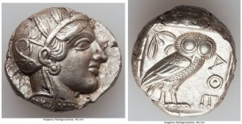 ATTICA. Athens. Ca. 440-404 BC. AR tetradrachm (25mm, 17.17 gm, 5h). XF. Mid-mass coinage issue. Head of Athena right, wearing crested Attic helmet or...