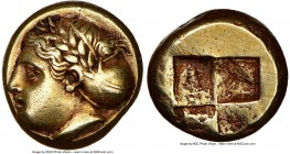 IONIA. Phocaea. Ca. 387-326 BC. EL sixth-stater or hecte (10mm, 2.54 gm). NGC AU 4/5 - 3/5. Female head left, hair bound in netted saccos and sphendon...