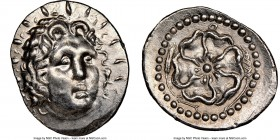 CARIAN ISLANDS. Rhodes. Ca. 84-30 BC. AR drachm (21mm, 3.97 gm, 12h). NGC MS 5/5 - 3/5, brushed. Radiate head of Helios facing, turned slightly right,...