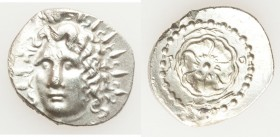 CARIAN ISLANDS. Rhodes. Ca. 84-30 BC. AR drachm (21mm, 4.48 gm, 12h). AU, scuffs. Radiate head of Helios facing, turned slightly left, hair parted in ...