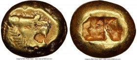 LYDIAN KINGDOM. Alyattes or Walwet (ca. 610-546 BC). EL third-stater or trite (12mm, 4.69 gm). NGC Choice VF 4/5 - 4/5. Uninscribed, Lydo-Milesian sta...