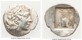 LYCIAN LEAGUE. Masicytes. Ca. 48-20 BC. AR hemidrachm (16mm, 1.94 gm, 12h). AU. Series 1. Laureate head of Apollo right; Λ-Y below / K-P, cithara (lyr...