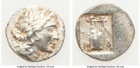 LYCIAN LEAGUE. Masicytes. Ca. 48-20 BC. AR hemidrachm (14mm, 1.95 gm, 12h). XF. Series 1. Laureate head of Apollo right; Λ-Y below / M-A, cithara (lyr...