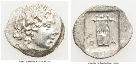 LYCIAN LEAGUE. Masicytes. Ca. 48-20 BC. AR hemidrachm (16mm, 1.77 gm, 12h). AU. Series 1. Laureate head of Apollo right; Λ-Y below / M-A, cithara (lyr...