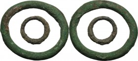 Celtic World. Lot of two (2) AE Ring money, 2nd-1st century BC. AE. 66 and 29 mm. Good VF.