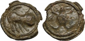 Celtic World. Cisalpine Gaul. (?). Potin Tessera or token, 2nd-1st century BC. Lion right. / Frog. Unlisted in the standard references. BI. 6.58 g. 25...