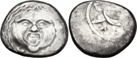Greek Italy. Etruria, Populonia. AR 20-Asses, 3rd century BC. Facing head of Metus, tongue protruding, hair bound with diadem; below, X X. Dotted bord...