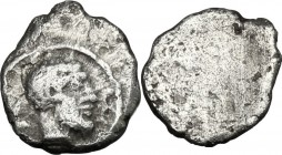 Greek Italy. Etruria, Populonia. AR 0.5-As (Sembella), 3rd century BC. Male head right; behind, V. Linear border. / Blank. Vecchi EC 111 (O1); HN Ital...