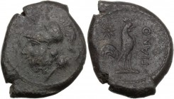 Greek Italy. Samnium, Southern Latium and Northern Campania, Teanum Sidicinum. AE 22 mm. c. 265-240 BC. Helmeted head of Minerva left. / Cock right; a...