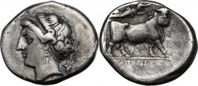 Greek Italy. Central and Southern Campania, Neapolis. AR Didrachm, c. 275-250 BC. Head of Parthenope left; behind, trophy. / Man-headed bull right cro...