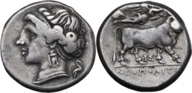 Greek Italy. Central and Southern Campania, Neapolis. AR Didrachm, c. 275-270 BC. Head of nymph left, wearing triple-pendant earring; heron on stork r...