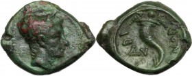 Greek Italy. Eastern Italy, Larinum. AE Uncia, c. 210-175 BC. Young male head right. / Cornucopiae; above, one pellet; at left, V; around, LADINOD. HN...