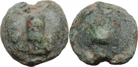 Greek Italy. Northern Apulia, Luceria. Heavy series. AE Cast Biunx, c. 225-217 BC. Scallop shell on a rised disk. / Astragalos; to right, two pellets ...
