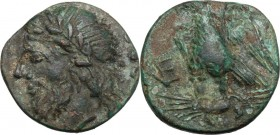 Greek Italy. Northern Apulia, Venusia. AE Quincunx, c. 210-200 BC. Laureate head of Jupiter left; behind, five pellets. / Eagle standing left on thund...