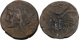 Greek Italy. Northern Apulia, Venusia. AE Teruncius, c. 210-200 BC. Head of Juno left, veiled; to left, VE ligate; [three pellets to right]. / Three c...