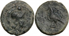 Greek Italy. Southern Apulia, Caelia. AE Uncia, c. 250-225 BC. Helmeted head of Athena right; above, one pellet. / Eagle standing left on thunderbolt,...