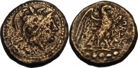 Greek Italy. Southern Apulia, Orra. AE Quincunx, c. 210-150 BC. Helmeted head of Minerva right. / Eagle standing right on thunderbolt, wings open; bel...