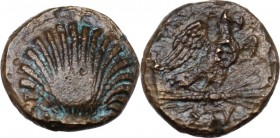 Greek Italy. Southern Apulia, Sturnium. AE 13.5 mm, 250-210 BC. Cockle shell. / Eagle right on thunderbolt, wings open; below, ΣΤΥ. HN Italy 823; SNG ...