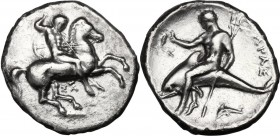 Greek Italy. Southern Apulia, Tarentum. AR Nomos, c. 332-302 BC. Nude warrior on horseback right, holding two lances and round shield and pointing spe...
