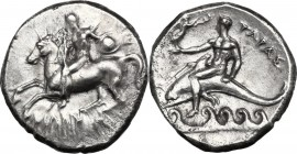 Greek Italy. Southern Apulia, Tarentum. AR Nomos, 302-280 BC. Nude warrior on horseback left; round shield in left hand, reins in right; behind, E[Y];...