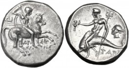 Greek Italy. Southern Apulia, Tarentum. AR Nomos c. 272-240 BC. Nude youth on horseback right, spearing downward; ΔI in left field; below, API-ΣΤΟ / Κ...