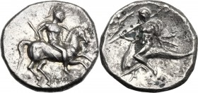 Greek Italy. Southern Apulia, Tarentum. Fourrée Nomos, c. 272-240 BC. Warrior on horseback right, holding shield and spear; below, ΑΠΟ[...]. / Phalant...