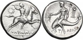 Greek Italy. Southern Apulia, Tarentum. AR Nomos, c. 240-228 BC. Horseman riding right, brandishing spear; wreath to left; ΟΛΙΜΠΙΣ below. / Taras astr...